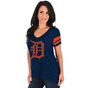 Majestic Women's Detroit Tigers Navy V-Neck T-Shirt