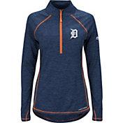 Majestic Women's Detroit Tigers Cool Base Navy Half-Zip Pullover