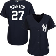 Majestic Women's Replica New York Yankees Giancarlo Stanton #27 Cool Base Alternate Navy Jersey