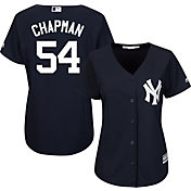 Majestic Women's Replica New York Yankees Aroldis Chapman #54 Cool Base Alternate Navy Jersey