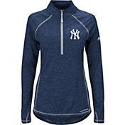 Majestic Women's New York Yankees Cool Base Navy Half-Zip Pullover
