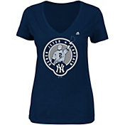 Majestic Women's New York Yankees Derek Jeter Jersey Retirement Navy V-Neck T-Shirt