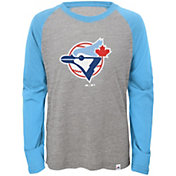 Majestic Youth Toronto Blue Jays Cooperstown Grey/Light Blue Raglan Three-Quarter Sleeve Shirt