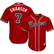Majestic Youth Replica Atlanta Braves Dansby Swanson #7 Cool Base Alternate Red Jersey