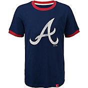 Majestic Youth Atlanta Braves Ringer Navy T-Shirt
