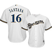 Majestic Youth Replica Milwaukee Brewers Domingo Santana #16 Cool Base Home White Jersey
