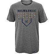 Majestic Youth Milwaukee Brewers Heirloom Grey T-Shirt
