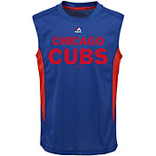 Majestic Youth Chicago Cubs Cool Base Foul Line Royal Performance Sleeveless Shirt