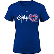 Majestic Youth Girls' Chicago Cubs Heart Beat Royal T-Shirt