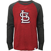 Majestic Youth St. Louis Cardinals Red/Grey Raglan Three-Quarter Sleeve Shirt