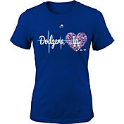Majestic Youth Girls' Los Angeles Dodgers Heart Beat Royal T-Shirt