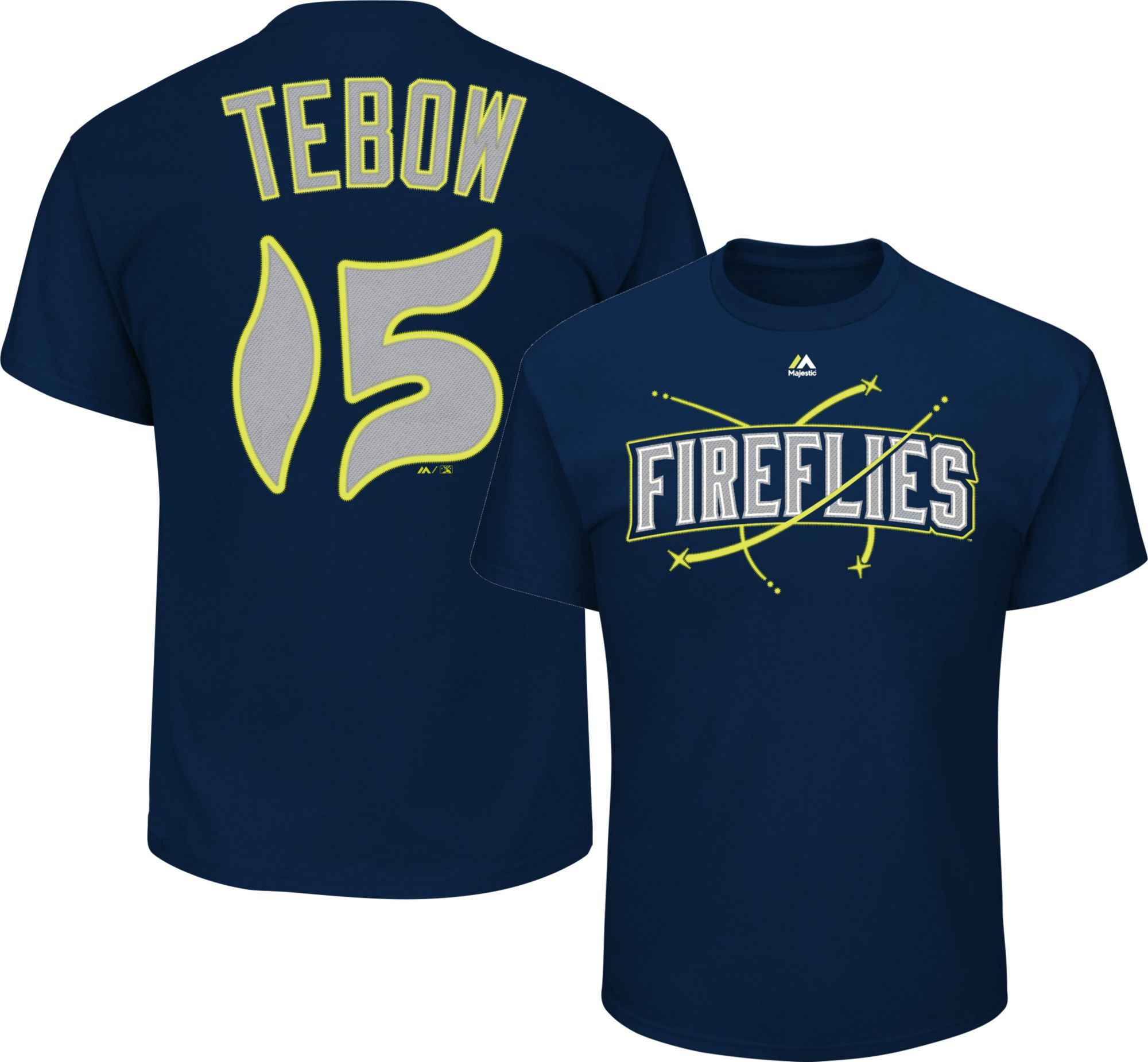 ccfd39337 ... Majestic Youth Columbia Fireflies Tim Tebow 15 Navy T-Shirt 2017 MenS  Youth ...
