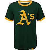 Majestic Youth Oakland Athletics Ringer Green T-Shirt