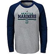 Majestic Youth Seattle Mariners Grey/Navy Raglan Long Sleeve Shirt