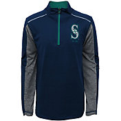 Majestic Youth Seattle Mariners Club Series Navy Quarter-Zip Fleece