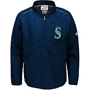 Majestic Youth Seattle Mariners Cool Base Navy On-Field Half-Zip Jacket