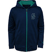 Majestic Youth Seattle Mariners Club Series Navy Full-Zip Hooded Fleece