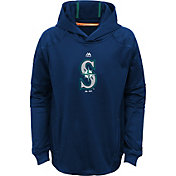 Majestic Youth Seattle Mariners Performance Navy Pullover Hoodie