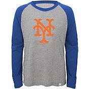 Majestic Youth New York Mets Cooperstown Grey/Royal Raglan Three-Quarter Sleeve Shirt