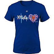 Majestic Youth Girls' New York Mets Heart Beat Royal T-Shirt
