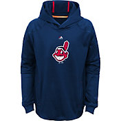 Majestic Youth Cleveland Indians Performance Navy Pullover Hoodie