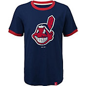 Majestic Youth Cleveland Indians Ringer Navy T-Shirt