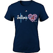 Majestic Youth Girls' Cleveland Indians Heart Beat Navy T-Shirt