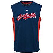 Majestic Youth Cleveland Indians Cool Base Foul Line Navy Performance Sleeveless Shirt