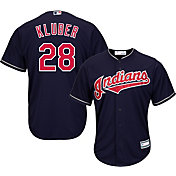 Majestic Youth Replica Cleveland Indians Corey Kluber #28 Cool Base Alternate Navy Jersey