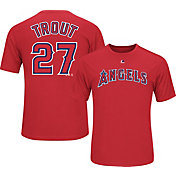Majestic Youth Los Angeles Angels Mike Trout #27 Red Performance T-Shirt