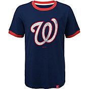 Majestic Youth Washington Nationals Ringer Navy T-Shirt