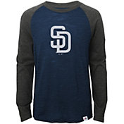 Majestic Youth San Diego Padres Navy/Grey Raglan Three-Quarter Sleeve Shirt