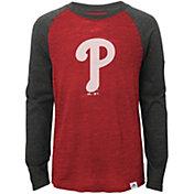 Majestic Youth Philadelphia Phillies Red/Grey Raglan Three-Quarter Sleeve Shirt