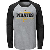 Majestic Youth Pittsburgh Pirates Grey/Black Raglan Long Sleeve Shirt