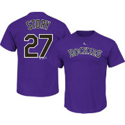 Majestic Youth Colorado Rockies Trevor Story #27 Purple T-Shirt
