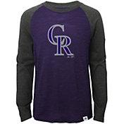 Majestic Youth Colorado Rockies Purple/Grey Raglan Three-Quarter Sleeve Shirt