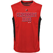 Majestic Youth Cincinnati Reds Cool Base Foul Line Red Performance Sleeveless Shirt