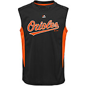 Majestic Youth Baltimore Orioles Cool Base Foul Line Black Performance Sleeveless Shirt