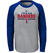 Majestic Youth Texas Rangers Grey/Royal Raglan Long Sleeve Shirt