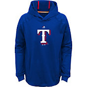 Majestic Youth Texas Rangers Performance Royal Pullover Hoodie