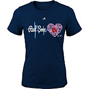 Majestic Youth Girls' Boston Red Sox Heart Beat Navy T-Shirt