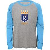 Majestic Youth Kansas City Royals Cooperstown Grey/Light Blue Raglan Three-Quarter Sleeve Shirt