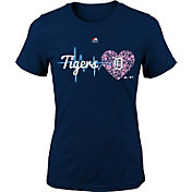 Majestic Youth Girls' Detroit Tigers Heart Beat Navy T-Shirt