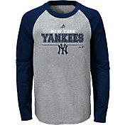 Majestic Youth New York Yankees Grey/Navy Raglan Long Sleeve Shirt
