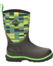 Muck Boot's Black/Rose/Owls Youth's Element Boot with Rubber Cup Outsole - Size 3