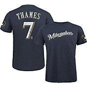 Majestic Threads Men's Milwaukee Brewers Eric Thames #7 Navy T- Shirt