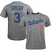 Majestic Threads Men's Los Angeles Dodgers Chris Taylor #3 Grey Tri-Blend T-Shirt