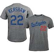 Majestic Threads Men's Los Angeles Dodgers Clayton Kershaw #22 Grey Tri-Blend T-Shirt