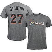 Majestic Threads Men's Miami Marlins Giancarlo Stanton #27 Grey Tri-Blend T-Shirt