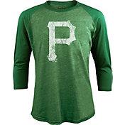 Majestic Threads Men's Pittsburgh Pirates St. Patrick's Day Green Raglan Three-Quarter Shirt